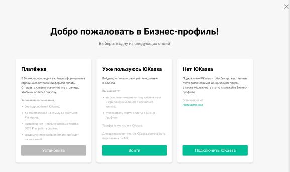 Бизнес-профиль: опции