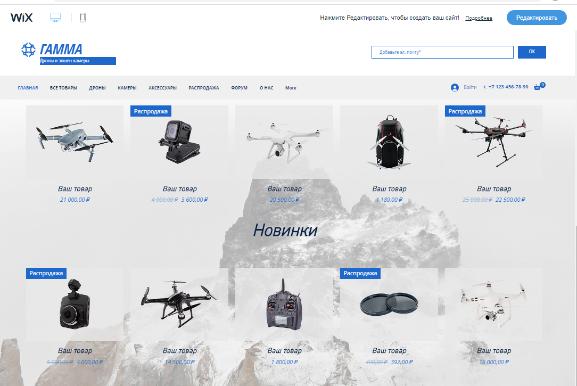 Шаблон интернет-магазина на Wix